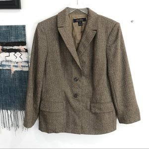 Brooks Brothers Wool & Silk Houndstooth Blazer 12